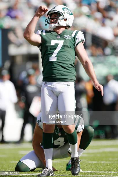 Chandler Catanzaro of the New York Jets reacts after making a field goal against the Miami Dolphins during the second half of an NFL game at MetLife...