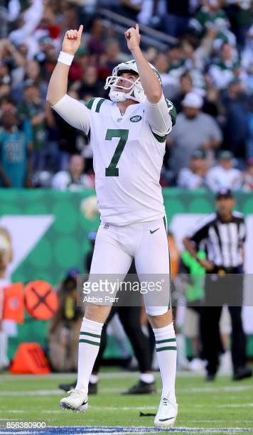 Chandler Catanzaro of the New York Jets reacts after making the game winning field goal in overtime against the Jacksonville Jaguars during their...