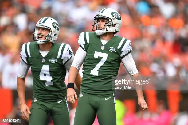 Chandler Catanzaro of the New York Jets watch his field goal go though the uprights in the second half against the Cleveland Browns at FirstEnergy...
