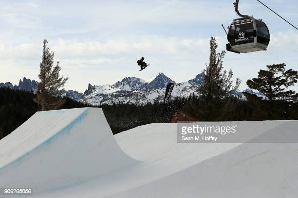Chandler Hunt competes in the qualifying round of Men's Snowboard Slopestyle during the Toyota US Grand Prix on on January 17 2018 in Mammoth...