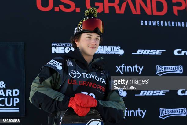 Chandler Hunt of the United States looks on from the podium after finishing in third place in the final of the FIS Snowboard World Cup 2018 Men's Big...