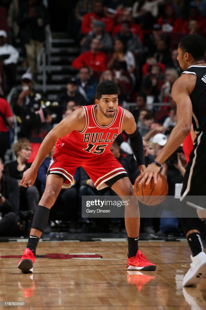 Chandler Hutchison of the Chicago Bulls plays defense