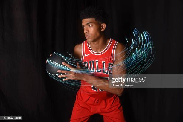Chandler Hutchison of the Chicago Bulls poses for a portrait during the 2018 NBA Rookie Photo Shoot on August 12 2018 at the Madison Square Garden...
