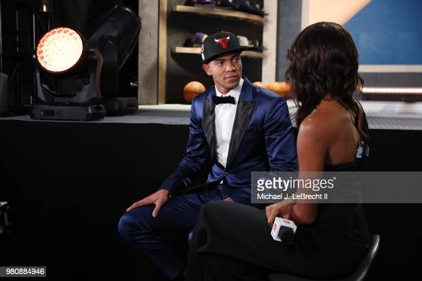 Chandler Hutchison talks to the media after been selected twentysecond by the Chicago Bulls on June 21 2018 at Barclays Center during the 2018 NBA...