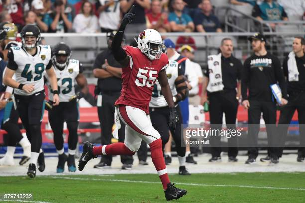 Chandler Jones of the Arizona Cardinals celebrates a play in the first half against the Jacksonville Jaguars at University of Phoenix Stadium on...