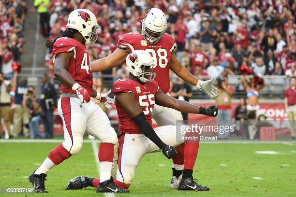 Chandler Jones of the Arizona Cardinals celebrates a sack against the Oakland Raiders in the first half of the NFL game at University of Phoenix...