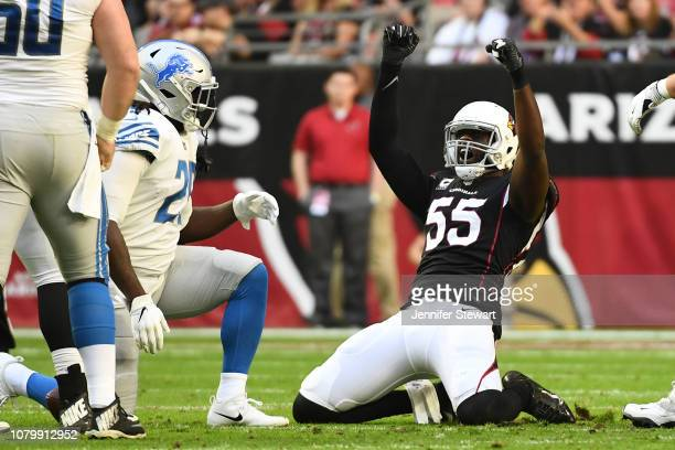 Chandler Jones of the Arizona Cardinals celebrates a tackle against Theo Riddick of the Detroit Lions in the first of the NFL game at State Farm...