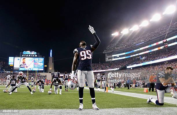 Chandler Jones of the New England Patriots reacts before a game against the Miami Dolphins at Gillette Stadium on October 29 2015 in Foxboro...