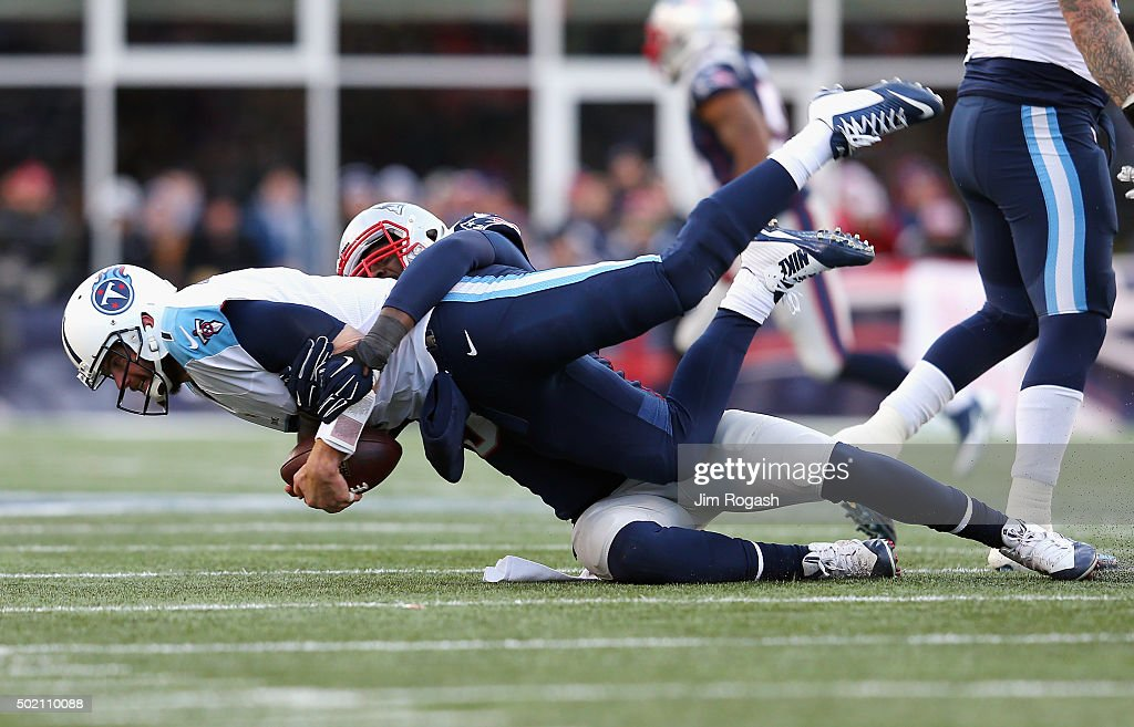 Chandler Jones #95 of the New England Patriots sacks Zach Mettenberger #7 of the Tennessee Titans during the second half at Gillette Stadium on December 20, 2015 in Foxboro, Massachusetts.