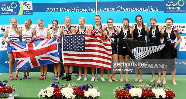 Chandler Lally Lucy Grinalds Mia Croonquist and Jessica Eiffert of the USA celebrate after winning Gold in the Junior Women's Four with Amber De Vere...