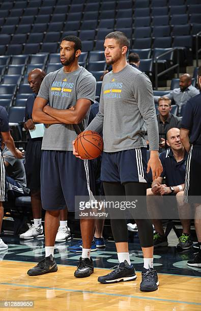 Chandler Parsons and Brandan Wright of the Memphis Grizzlies look on during an open practice on October 1 2016 at FedExForum in Memphis Tennessee...