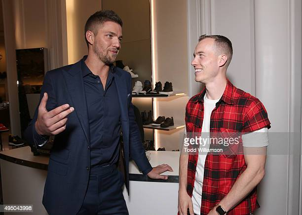 Chandler Parsons and DJ Skee attend a Del Toro Chandler Parsons Event at Saks Fifth Avenue Beverly Hills on October 30, 2015 in Beverly Hills,...