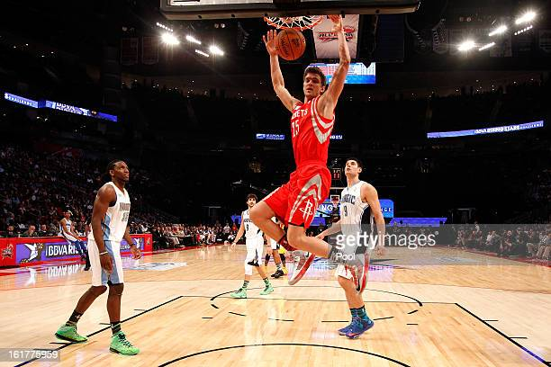 Chandler Parsons of the Houston Rockets and Team Shaq dunks the ball in the first half in the BBVA Rising Stars Challenge 2013 part of the 2013 NBA...