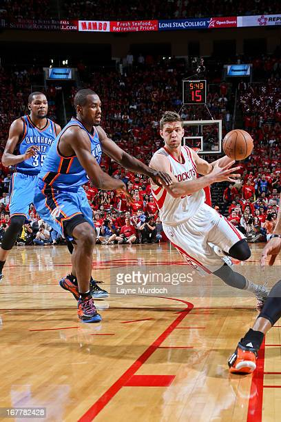 Chandler Parsons of the Houston Rockets drives against Serge Ibaka of the Oklahoma City Thunder in Game Four of the Western Conference Quarterfinals...