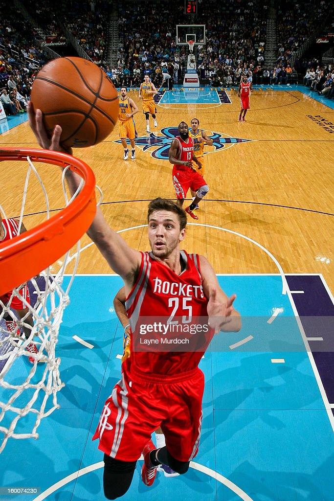 Chandler Parsons #25 of the Houston Rockets drives to the basket against the New Orleans Hornets on January 25, 2013 at the New Orleans Arena in New Orleans, Louisiana.
