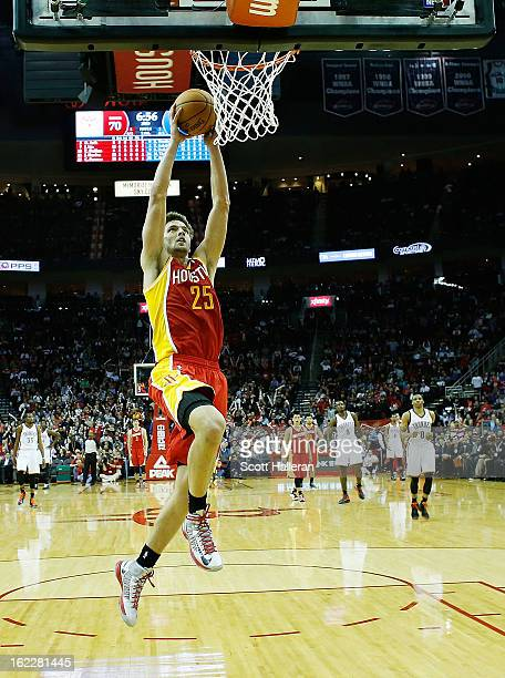 Chandler Parsons of the Houston Rockets goes up for a dunk during the game against the Oklahoma City Thunder at Toyota Center on February 20 2013 in...