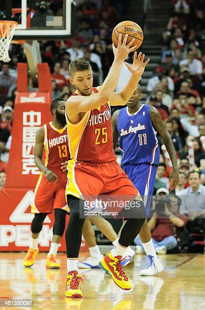 Chandler Parsons of the Houston Rockets in action during the game against the Los Angeles Clippers at the Toyota Center on March 29 2014 in Houston...