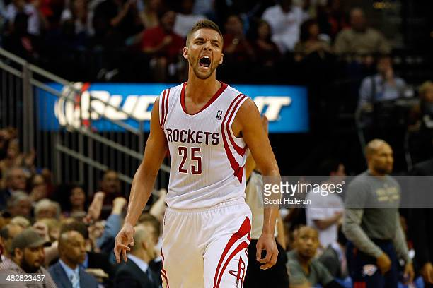 Chandler Parsons of the Houston Rockets reacts after hitting a three pointer in the third period against the Oklahoma City Thunder during a game at...