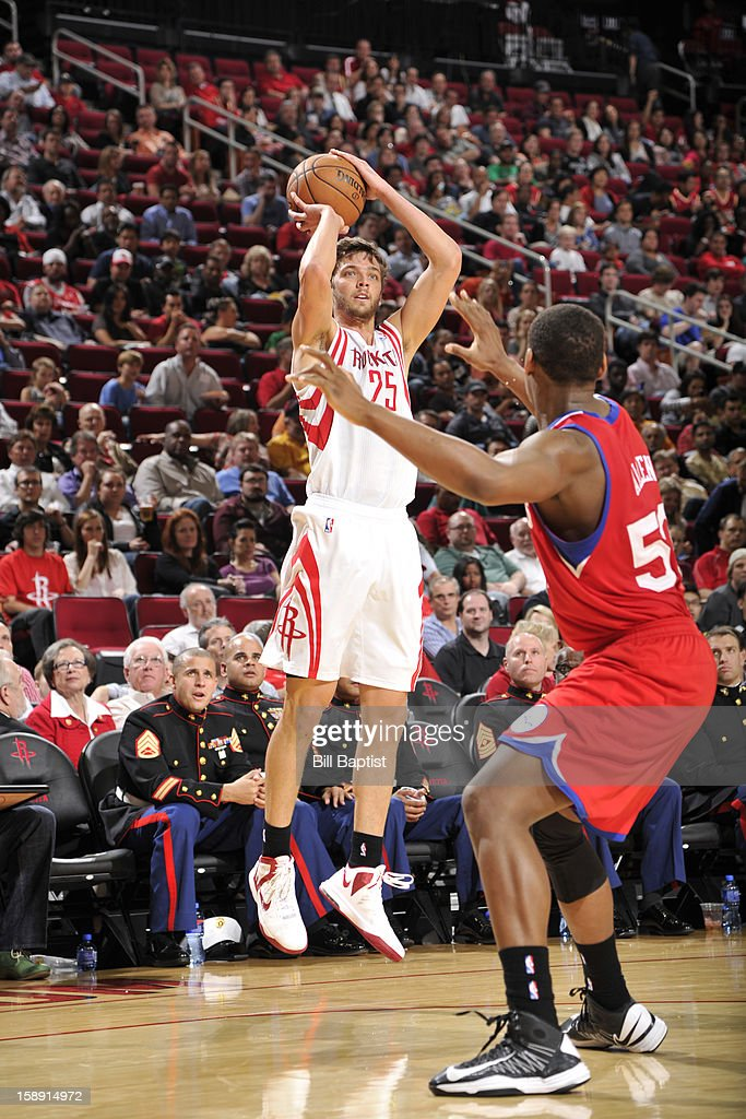 Chandler Parsons #25 of the Houston Rockets takes a shot against the Philadelphia 76ers on December 19, 2012 at the Toyota Center in Houston, Texas.