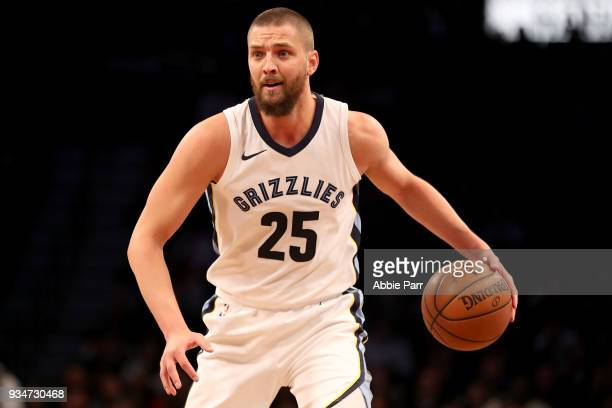 Chandler Parsons of the Memphis Grizzlies looks down the court in the first quarter against the Brooklyn Nets during their game at Barclays Center on...