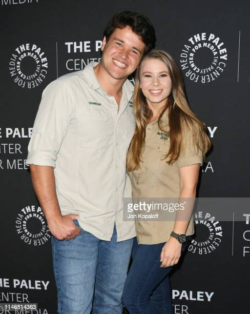 Chandler Powell and Bindi Irwin attend The Paley Center For Media Presents An Evening With The Irwins Crikey It's The Irwins Screening And...