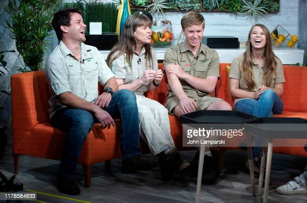 "Chandler Powell, Terri Irwin, Robert Irwin and Bindi Irwin visit BuzzFeed's ""AM To DM"" on October 02, 2019 in New York City."