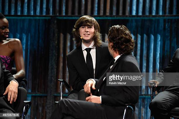"""Chandler Riggs attends AMC's """"The Walking Dead"""" season 6 fan premiere event at Madison Square Garden on October 9, 2015 in New York City."""