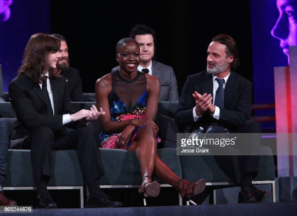 Chandler Riggs Tom Payne Danai Gurira Josh McDermitt and Andrew Lincoln speak onstage at The Walking Dead 100th Episode Premiere and Party on October...