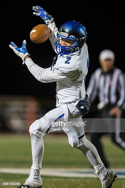 Chandler running back Chase Lucas catches the ball during the fourth quarter of a high school football game against Valor Christian at Valor Stadium...