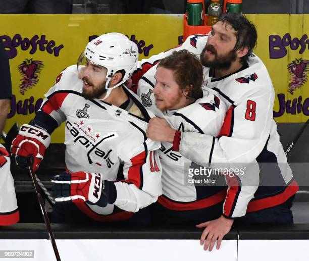 Chandler Stephenson Nicklas Backstrom and Alex Ovechkin of the Washington Capitals watch the final seconds of Game Five of the 2018 NHL Stanley Cup...