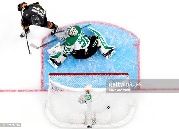 Chandler Stephenson of the Vegas Golden Knights scores on goaltender Anton Khudobin of the Dallas Stars in the first period of Game Five of the...