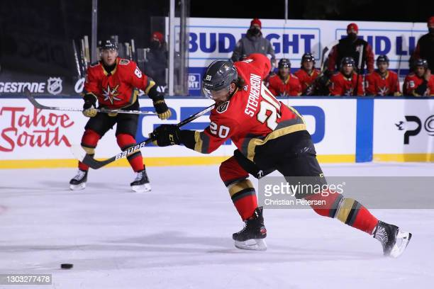 Chandler Stephenson of the Vegas Golden Knights shoots the puck against the Colorado Avalanche during the second period of the 'NHL Outdoors At Lake...