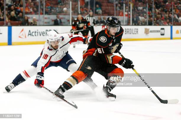 Chandler Stephenson of the Washington Capitals and Troy Terry of the Anaheim Ducks fight for control of the puck at Honda Center on February 17 2019...