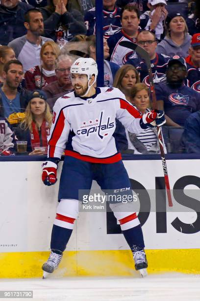 Chandler Stephenson of the Washington Capitals celebrates after scoring a goal in Game Six of the Eastern Conference First Round during the 2018 NHL...