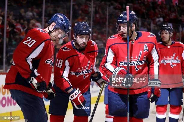 Chandler Stephenson of the Washington Capitals celebrates his first goal of the second period against the Philadelphia Flyers at Capital One Arena on...