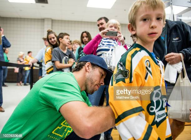 Chandler Stephenson Of The Washington Capitals greets fans at the Elgar Petersen Arena Stephenson brought the Stanley Cup to Humboldt Hockey Day on...