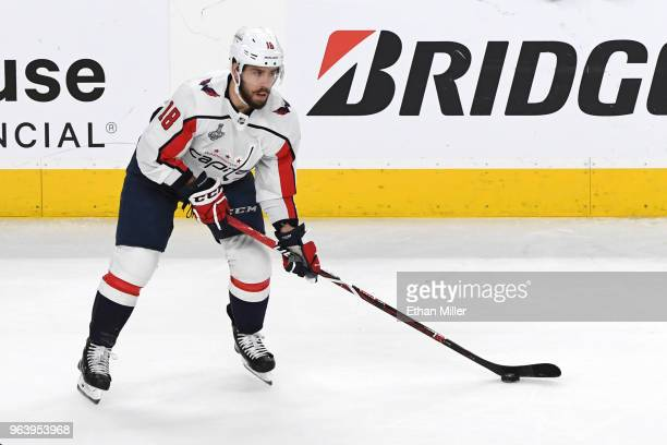 Chandler Stephenson of the Washington Capitals handles the puck against the Vegas Golden Knights in Game Two of the 2018 NHL Stanley Cup Final at...