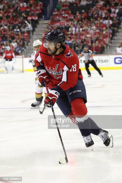 Chandler Stephenson of the Washington Capitals in action against the Vegas Golden Knights during the second period at Capital One Arena on October 10...