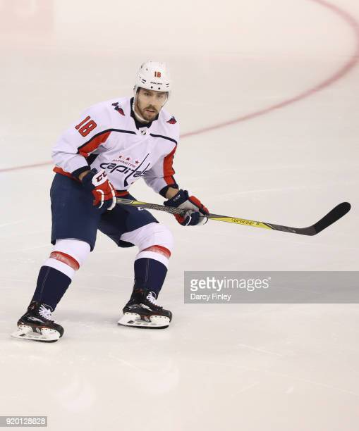 Chandler Stephenson of the Washington Capitals keeps an eye on the play during third period action against the Winnipeg Jets at the Bell MTS Place on...