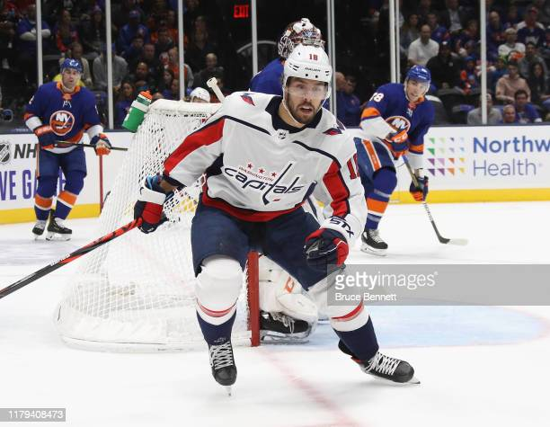 Chandler Stephenson of the Washington Capitals skates against the New York Islanders at NYCB Live's Nassau Coliseum on October 04 2019 in Uniondale...