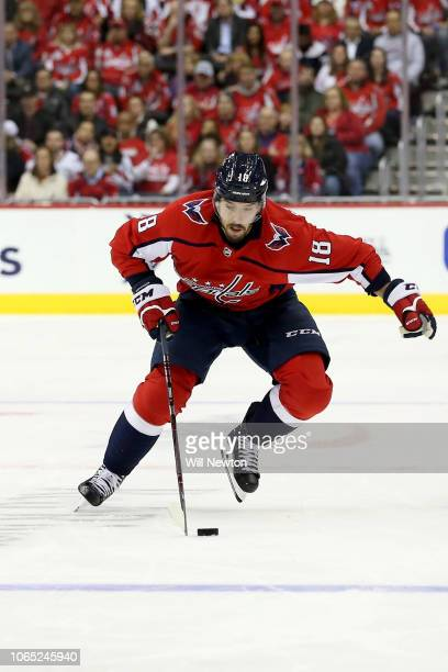 Chandler Stephenson of the Washington Capitals skates against the Pittsburgh Penguins during the second period at Capital One Arena on November 7...