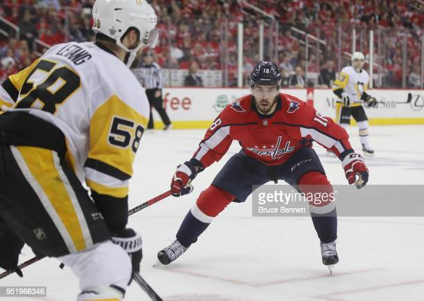 Chandler Stephenson of the Washington Capitals skates against the Pittsburgh Penguins in Game One of the Eastern Conference Second Round during the...