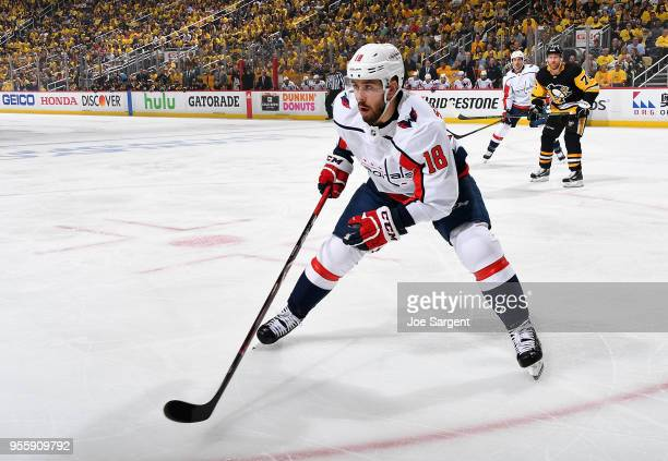 Chandler Stephenson of the Washington Capitals skates against the Pittsburgh Penguins in Game Three of the Eastern Conference Second Round during the...