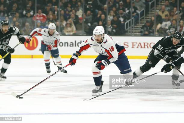 Chandler Stephenson of the Washington Capitals takes the puck down the ice during a game against the Los Angeles Kings at Staples Center on February...