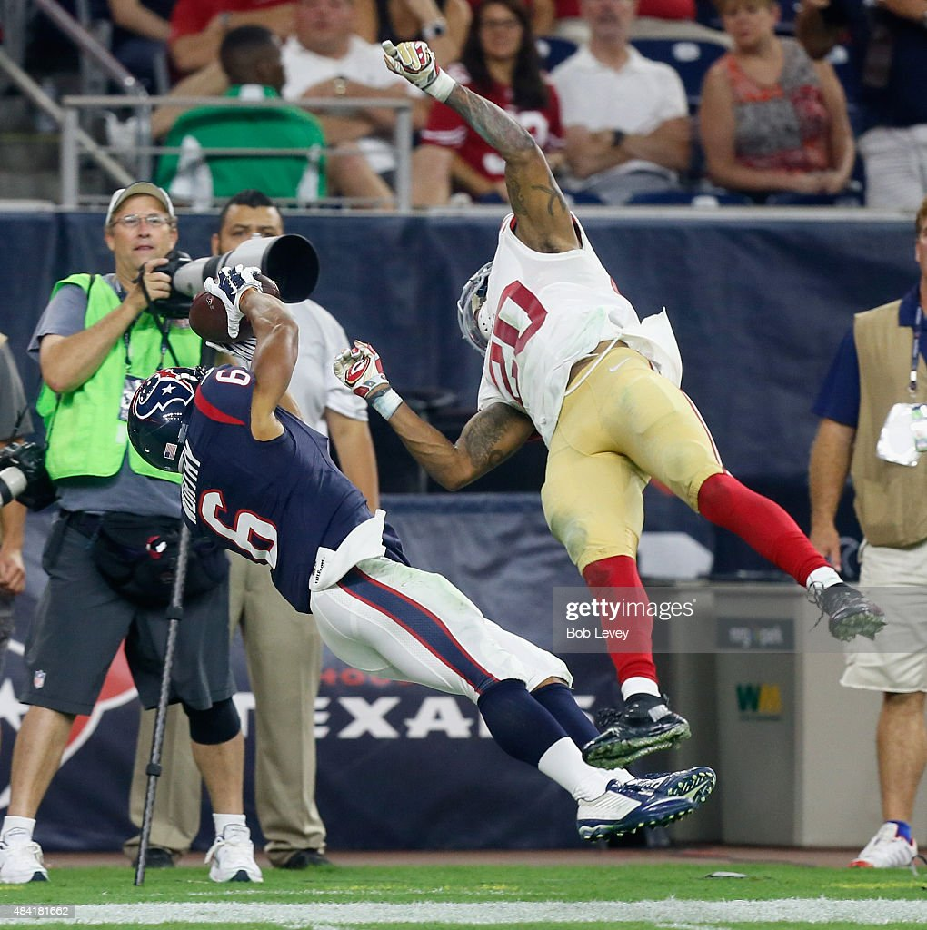 Chandler Worthy #6 of the Houston Texans makes a catch but falls out of bounds as he is covered by Kenneth Acker #20 of the San Francisco 49ers at Reliant Arena at Reliant Park on August 15, 2015 in Houston, Texas.