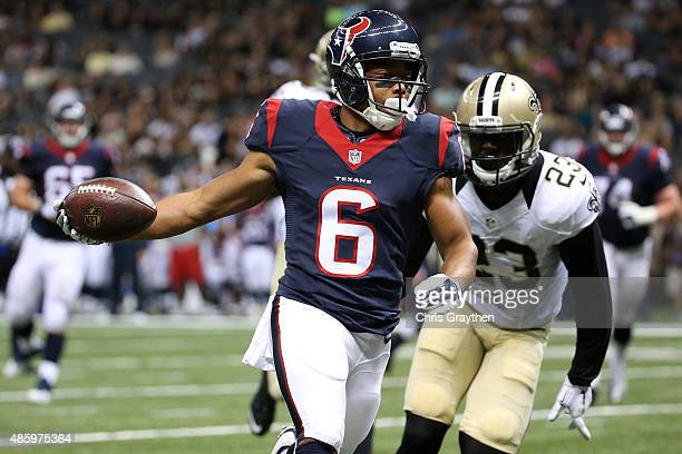 Chandler Worthy of the Houston Texans scores a touchdown against the New Orleans Saints at the MercedesBenz Superdome on August 30 2015 in New...