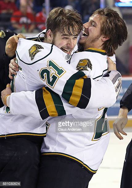 Chandler Yakimowicz and Chad Heffernan of the London Knights celebrate victory against the Niagara IceDogs in Game Four of the OHL Championship final...