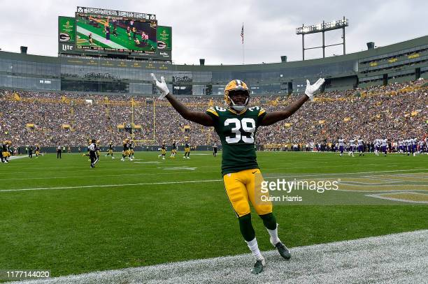Chandon Sullivan of the Green Bay Packers celebrates with fans during the game against the Minnesota Vikings at Lambeau Field on September 15, 2019...