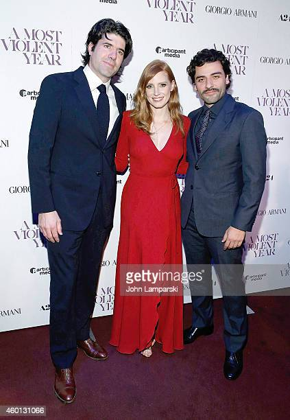C Chandor Jessica Chastain and Oscar Isaac attends 'A Most Violent Year' New York Premiere at Florence Gould Hall on December 7 2014 in New York City