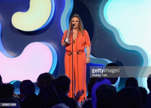 Chandra Bozelko accepts an award onstage at The 22nd Annual Webby Awards at Cipriani Wall Street on May 14 2018 in New York City